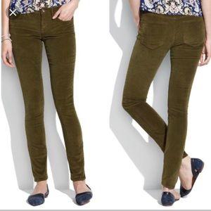 Madewell skinny green corduroy pants